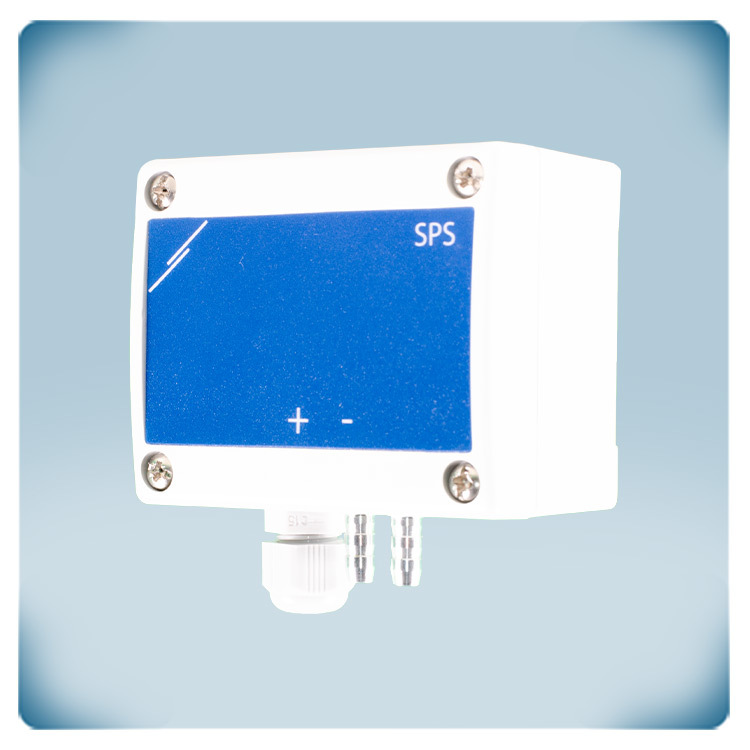 Differential pressure sensor for harsh environments in light grey enclosure, blu